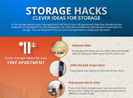 storage hacks, storage solutions, storage, reader submission, small spaces, tiny living, storage for small homes, organizing tips, storage hacks infographic, infographics