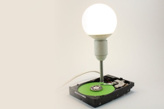 recycled materials, upcycling, upcycled lamps, decorative lamps, automotive parts, tablo, computer hardware