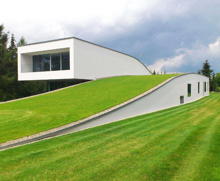 Stunning green-roofed Autofamily House features a drive-thru art gallery in  Poland