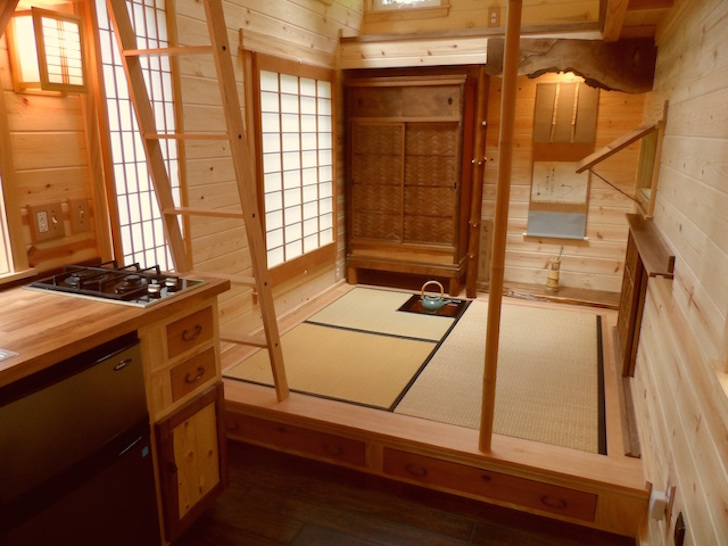Adorable tiny cottage is a Japanese inspired teahouse on wheels