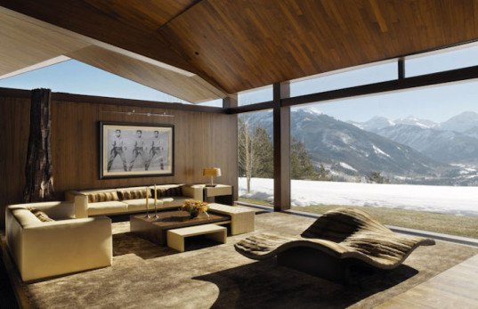 sandstone, black walnut, Wildcat Ridge Residence, Voorsanger Architects, Aspen, Colorado, geothermal energy, geothermal well, floor to ceiling glass, panoramic views, mountains, mountain ridge, Rocky mountains, moss rock wall