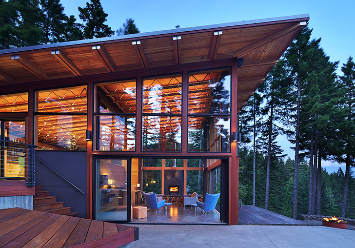 Solar powered base camp embraces nature through energy for Energy efficient cabin