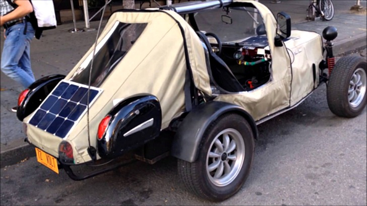 Industrious Manhattan man drives to work in homemade electric vehicles made of old car parts