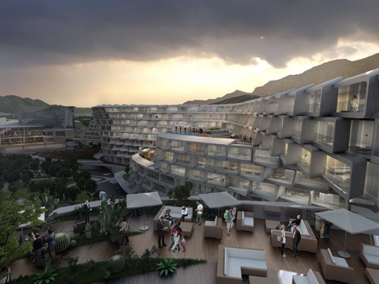 Zaha Hadid Architects, Mexico, Esfera City Center, honeycomb, solar gain, passive cooling, residential architecture, public spaces, public park, CPTED, green buildings