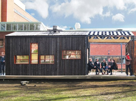 KTH School of Architecture, Full Scale Studio, Friggatto, prefab studio, prefab, mobile architecture, Stockholm, low-cost, plywood facade, green architecture, affordable building
