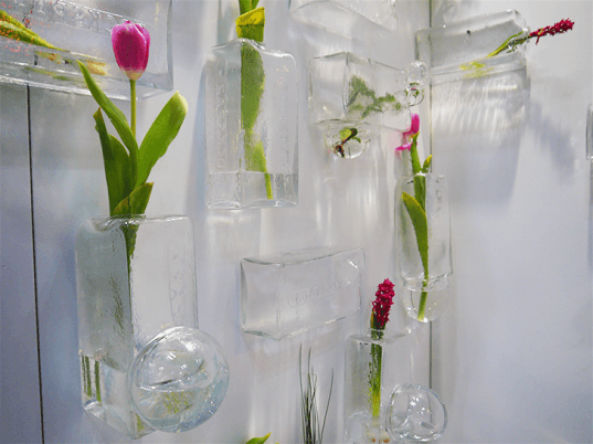 off centre, hand-blown glass vases, eco-friendly plant containers, glass wall vases,  ICFF 2015, indoor plants, green design, eco-design, eco-friendly design