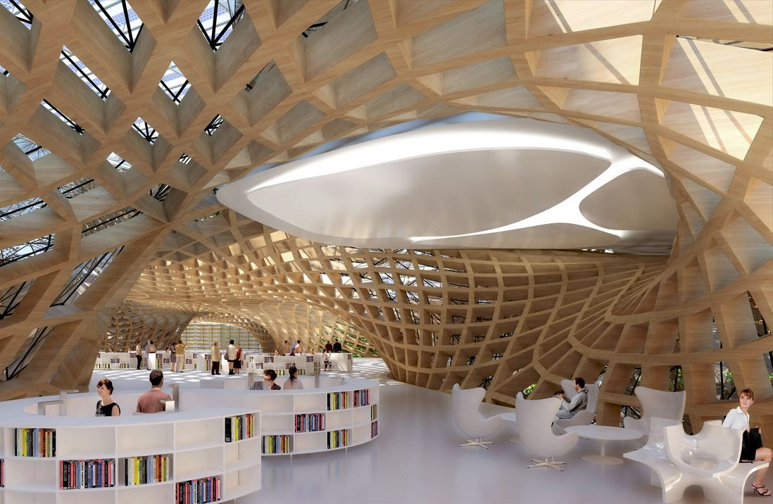 Wooden Orchids reimagines the shopping mall as a living, breathing ecotopia