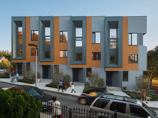 energy-positive housing, E+ green building program, LEED platinum, Urbanica, Interface Studio architects, ISA, Roxbury E+ by ISA, passive solar principles, energy star appliances, rain gardens, permeable paving, triple glazed windows, rainwater harvesting, solar panels, net zero energy