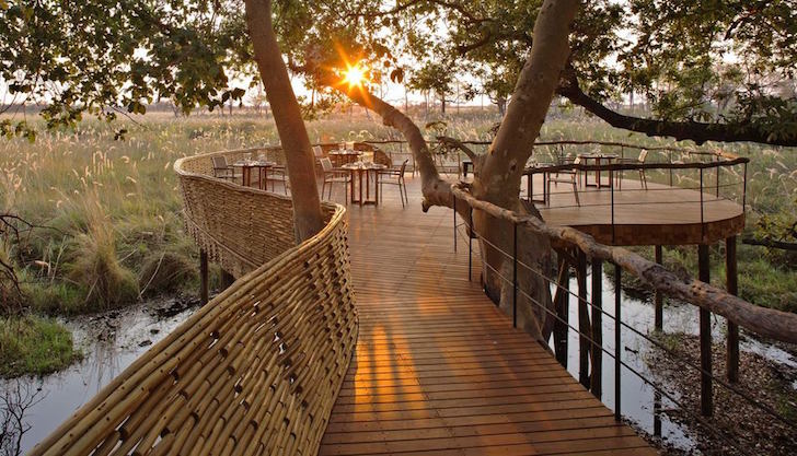 luxury safari lodge, safari lodge, Botswana, Sandibe Okavango, Okavango Delta, Michaelis Boyd, Nick Plewman, concrete free, solar panel farm, African bush, pangolin,