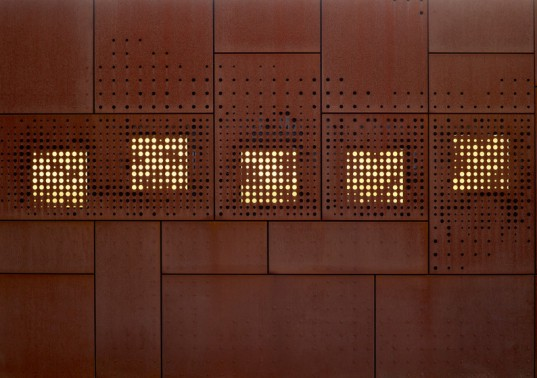 Studio Farris Architect, corten steel, city library, Bruges, building extension, Sint-Andries city library, rusty facade,