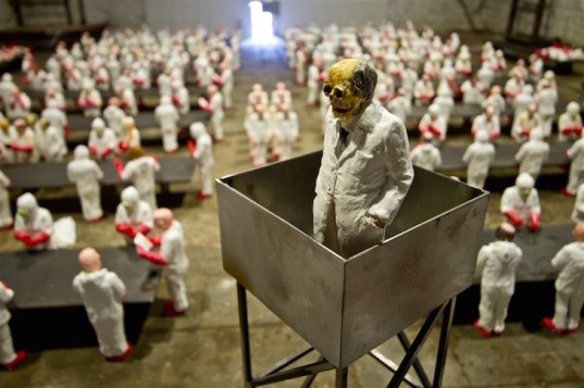 Isaac Cordal, The School, art installation, university, industrialized education, industrialized learning, capitalism in universities, for profit university