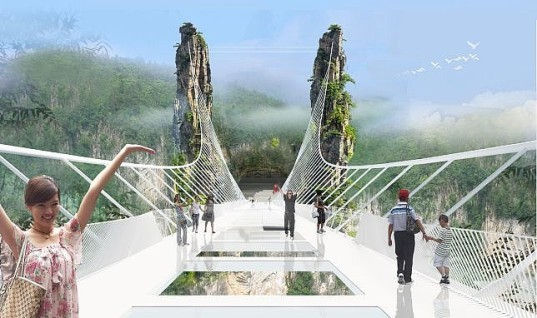 Hunan Province, China, Haim Dotan, glass bridge, transparent bridge, green infrastructure, bungee jumping, extreme structures, extreme bridges, record-breaking structure