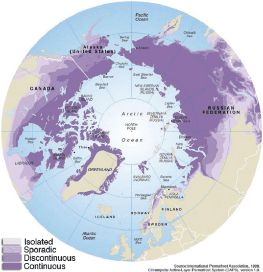 permafrost, map, arctic map, permafrost map