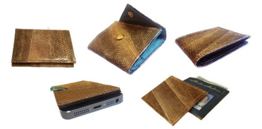 salmon skin wallet, aquatic leather, fish leather, fish leather products, aquatic leather boots, aquatic leather belt, tidal visions usa, craig kasberg