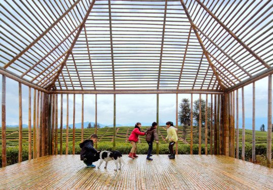 DNA - Design And Architecture, pavilions, bamboo, bamboo architecture, natural light, locally sourced materials, natural materials, renewable building materials, China, skylights, multi-purpose spaces, green architecture