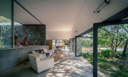 EDAA Architects, Casa Meztitla, Mexico, mountain house, holiday home, retirement home, volcanic stone, pivoting doors, glass facade, rainwater collection, green architecture