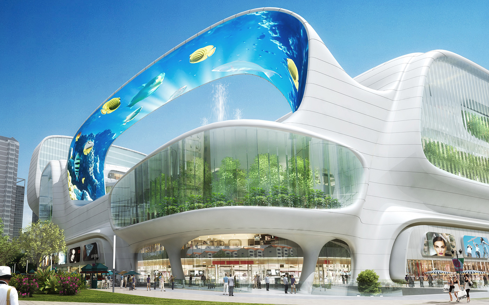 This crazy Chinese shopping mall has a massive vertical aquarium, an LED canopy and gondola rides