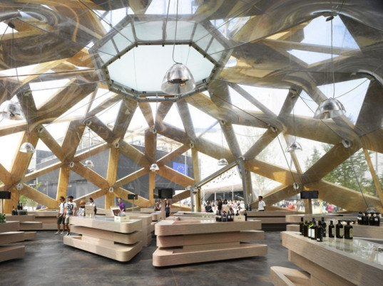 green design, eco design, sustainable design, Love IT Pavilion, Copagri, Expo Milano 2015, EMBT, temporary pavilion, open lattice pavilion, double dome pavilion