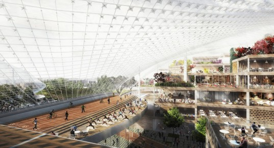 Google Mountain View, Google headquarters, Heatherwick Studio, BIG, green campus, green headquarters, transparent canopy, canopy, sustainable building, California, greenhouse