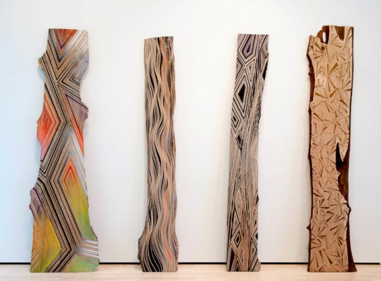 Jason Middlebrook, abstract paintings, wood planks, human-nature relationship, colorful artworks on wood,