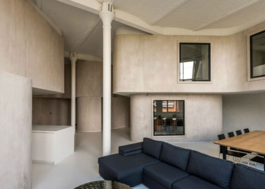 graux and baeyen, belgium designers, warehouse loft space, curved interiors