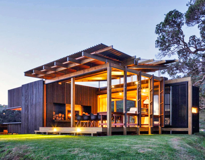 New zealand beach house transforms into an open aired for Beach house architecture plans