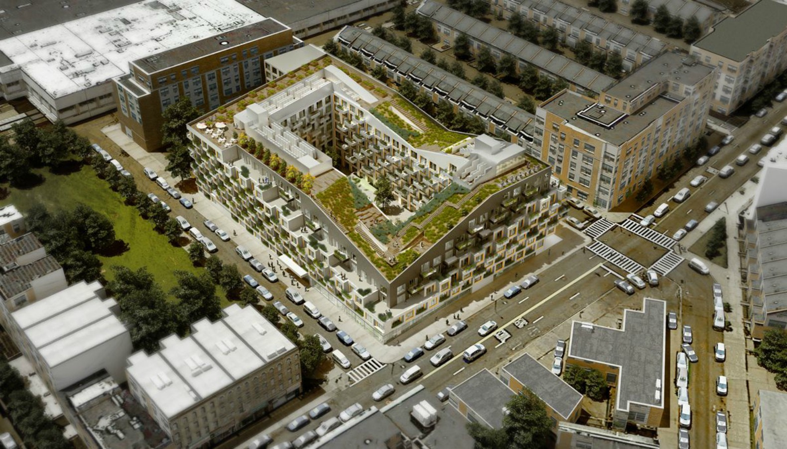 """Access your own 25,000-sq-ft rooftop """"hipster playground"""" at ODA's new Bushwick apartments"""