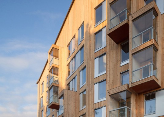 OOPEAA, Puukuokka, Finland's first wooden apartment block, crossed laminated timber (CLT), larch cladding, laminated timber building, prefab building,