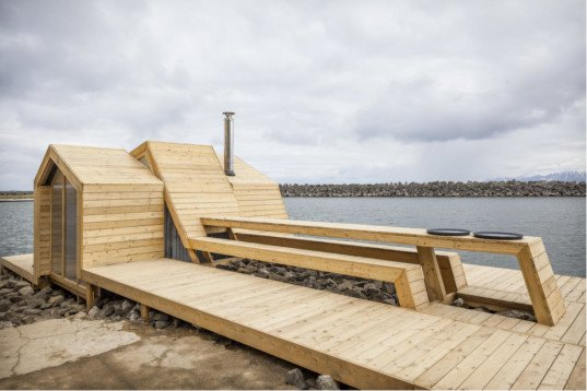 The Bands, Oslo School of Architecture and Design, student project, the bands student project, Kleivan, Lofotan, design/build, Scarcity ad Creativity Studio, Art and Culture Production Centre, sauna, traditional Norwegian architecture, larch,