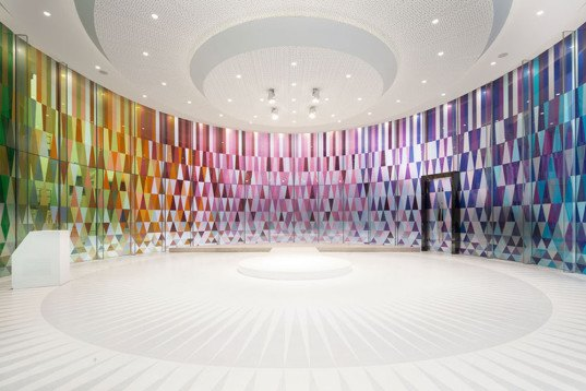 Rainbow Chapel, Shangai, Coordination Asia, wedding chapel, green renovation, museum park, Chinese architects, colored glass, glass facade, natural light