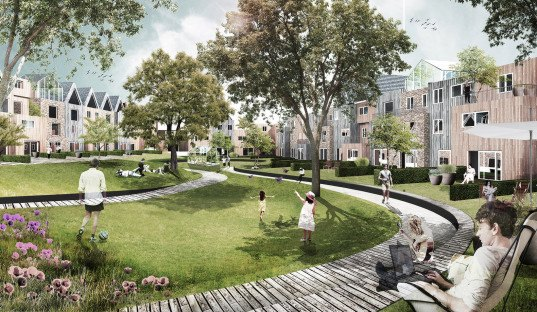 DELVA Landscape Architects, brick architecture, shared garden, green spaces, public garden, storm water collection, public spaces, city park, green architecture, Dutch architecture