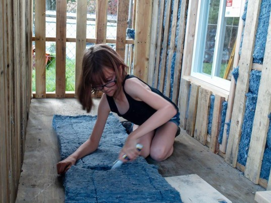 Hailey Fort, tiny homes, 9 year old builds tiny houses for homeless, tiny houses for the homeless, Hailey's Harvest, Bremerton, homeless, homeless architecture, tiny houses, homeless tiny homes, recycled denim insulation,