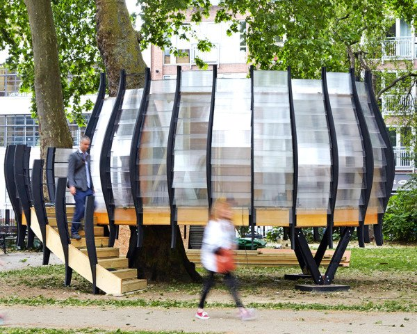 TREExOFFICE, temporary architecture, temporary office space, treehouse, Park Hack, Gensler, pop-up office, Tate Harmer, London, London parks, paper architecture, natural materials