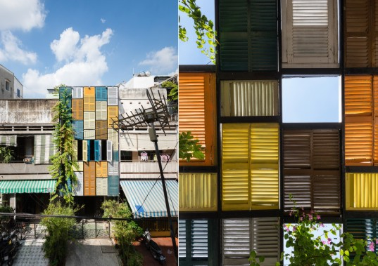 block architects, vegan house, vietnam architecture, shutter house, colorful shutters, quang tran photography, tube houses, jalousie windows, daylighting