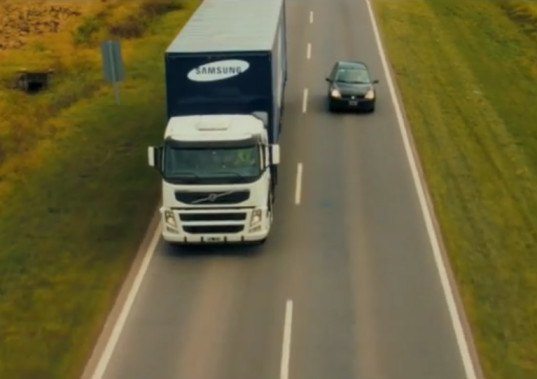 Samsung Designs Seethrough Trucks To Make The Roads Safer - Samsung safety truck shows the road ahead so cars can safely pass
