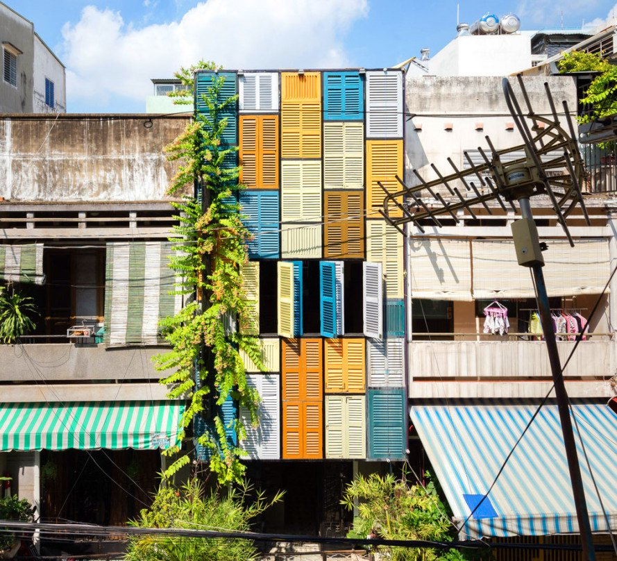 Vietnam S Vegan House Is Covered From Top To Bottom In Vibrantly Painted Shutters