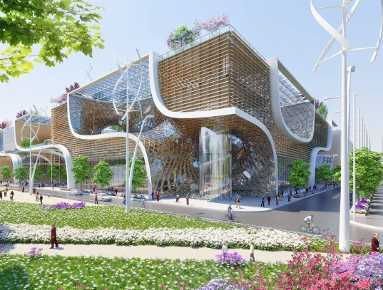Vincent Callebaut, passive design, bioclimatic design, biomimicry, China, wooden orchids, green design, sustainable design, eco-design, renewable energy, recycling, rainwater harvesting, geothermal heating and cooling, responsible shopping, eco-shopping, organic foods, conscious consumerism, design competition, ount Lu Estate of World Architecture Competition