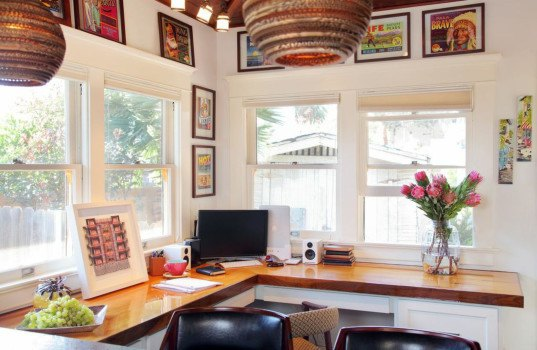 los angeles bungalow, sarah barnard, sarah barnard design, sustainable design home, flipping a bungalow home, flipping homes, 1918 bungalow home, environmentally friendly design, sun tubes, recycled beer bottle countertops, bowling alley desk