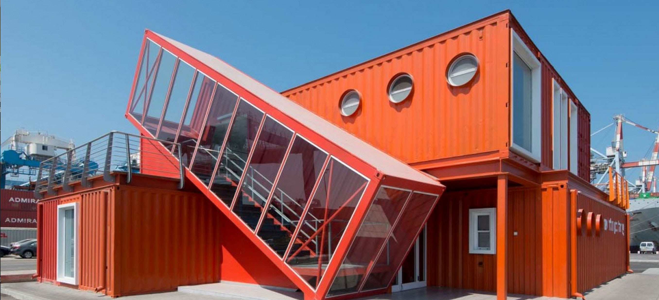 7 Bright red shipping containers repurposed as modern offices in ...