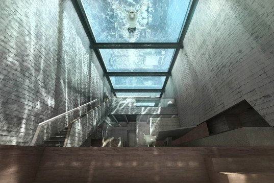 Casa Brutale, OPA, underground architecture, underground building, glass facade, raw concrete, brutalist building, swimming pool, waterfront architecture
