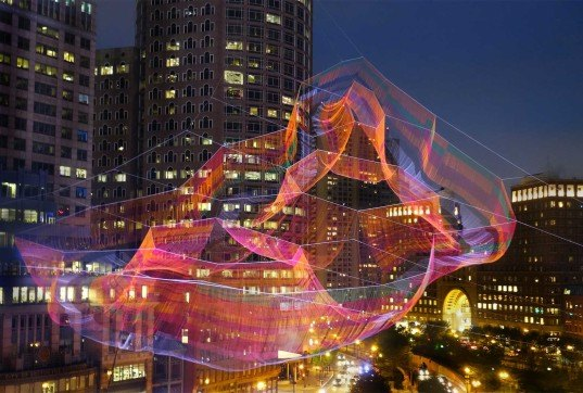 Janet Echelman, hand-knitted aerial sculpture, 'As If It Were Already Here', Boston, Boston park sculpture, Arup, polyethylene fiber net