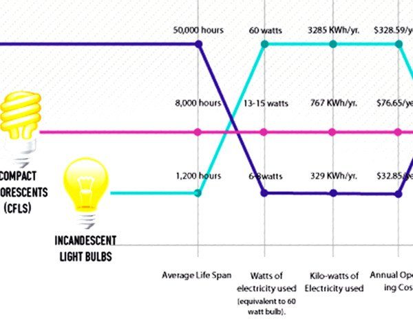 infographic, reader submission, LED bulbs, CFL bulbs, incandescent bulbs, green lighting, green bulbs, green lled, LED lighting, LED, CFL lighting, best type of lightbulb, greenest bulb