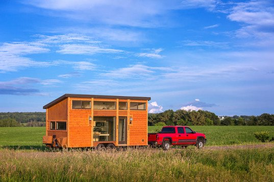 Escape Traveler, Kelly Davis, Dan George Dobrowolski, Escape cabin, Escape traveler tiny home, tiny home, RV, tiny house, mobile home, tiny mobile home, luxury tiny home, recycled Dakota planking, recycled materials, transforming furniture, sleeping loft, low-e windows,