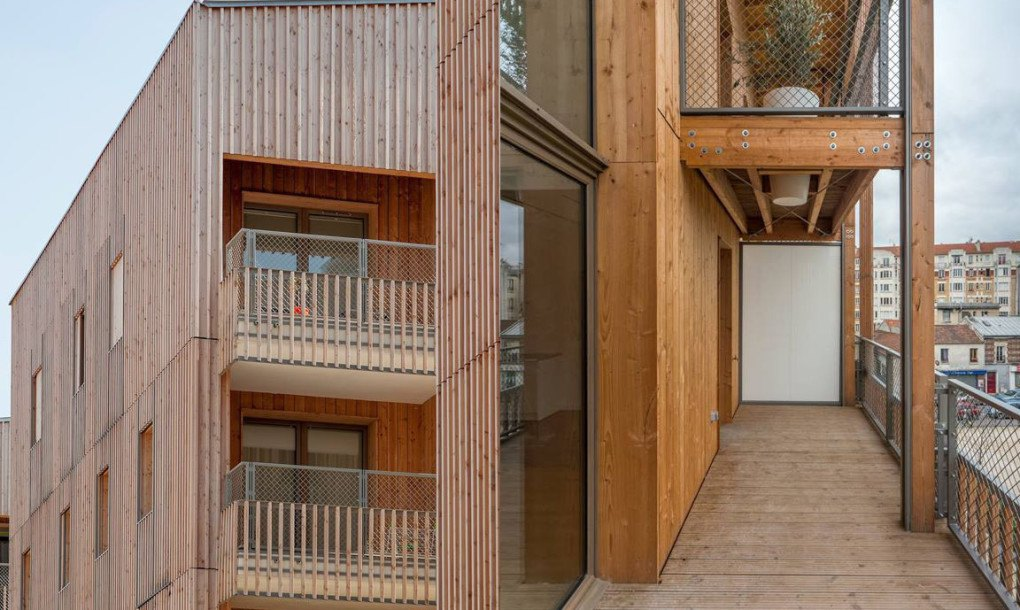 Prefab Parisian housing is clad in a double-skin timber