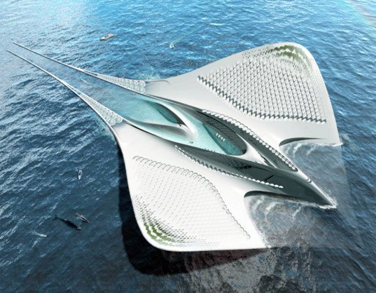 City of Mériens, Jacques Rougerie, manta ray floating city, floating city, oceanic research, seaorbiter, ocean research, university city, city shaped like manta ray