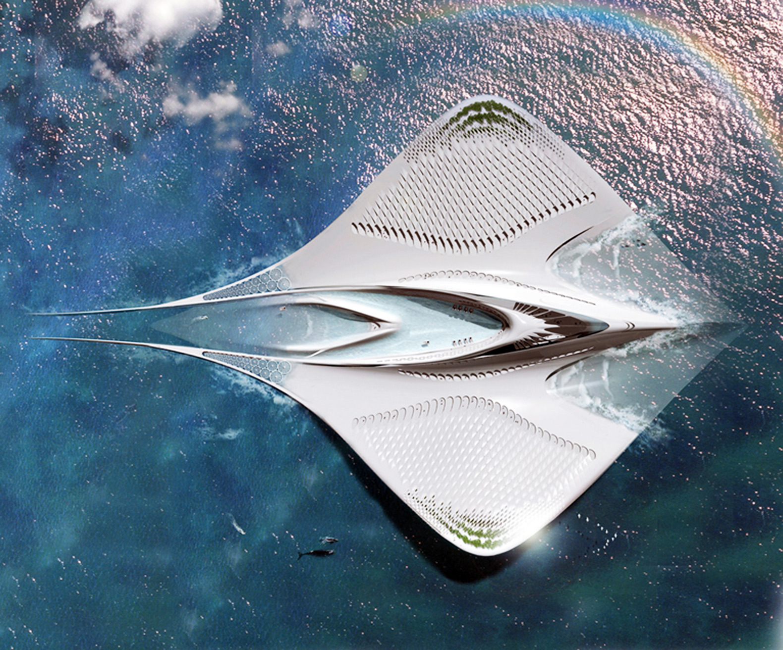 Fascinating floating city shaped like a manta ray would be 100% self-sustaining