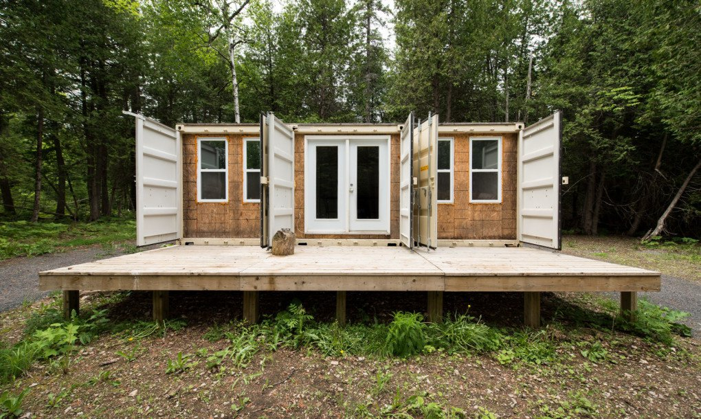 Ship Container House a canadian man built this off-grid shipping container home for