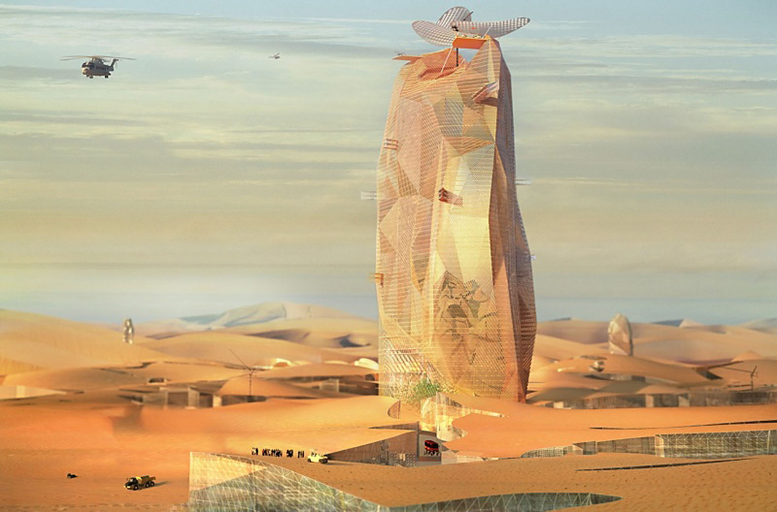 Futuristic self-sufficient vertical city rises from the Sahara Desert