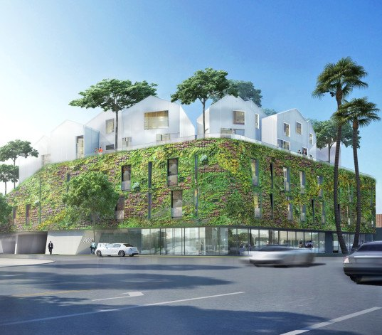 MAD Architects, green wall, green roof, urban village, glass facade, perforated facade, Beverly Hills, green architecture, residential building, internal courtyard, courtyard