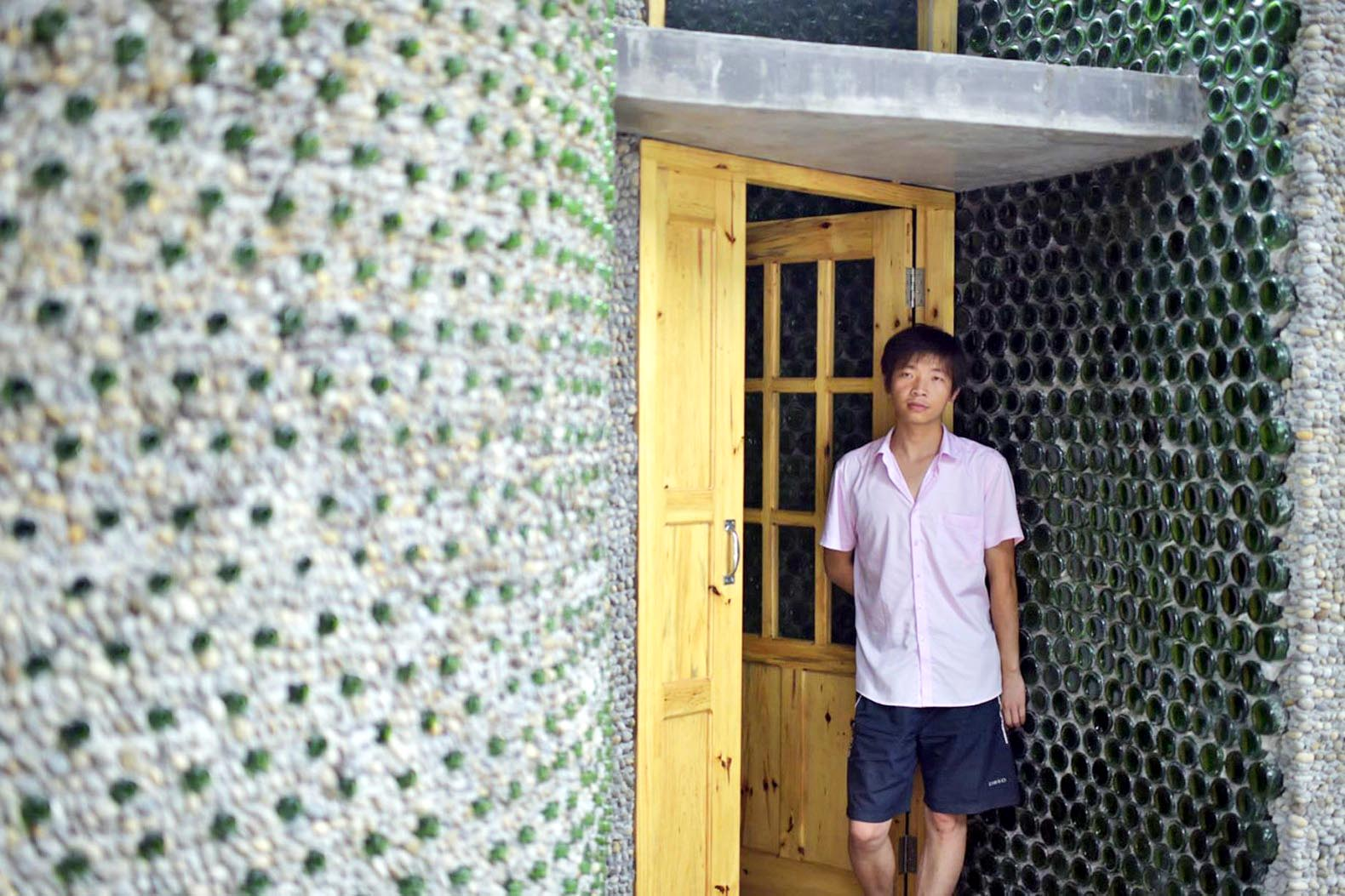 Aspiring Chinese architect built his office out of 8,500 recycled beer bottles